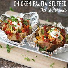 {Easy Family Meals} Chicken Fajita Stuffed Baked Potatoes