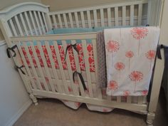 Modern Navy And Pink Crib Bedding By Erbeansboutique On Etsy