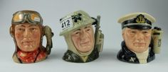 Top 25 Highest Selling Lots -Collectors & General Sale – Lot 412 – Royal Doulton set of small character jugs to include The Airman D6903, The Sailor D6904 and The Soldier D6905 (3).  Sale Price £180.00