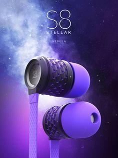 우주배경에 제품이미지. 웅장한 느낌 제품 이름이 스텔라라서 https://www.behance.net/gallery/31303287/S8-Stellar-Earbuds
