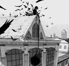 Devil akuma alone anime birds black and white boy building city creepy crows dark demon guy joker danny kowai lonely male manga mangacap monochrome old old xian prisoner sugoi Black And White Building, Black And White Landscape, Otaku Anime, Anime Guys, Manga Art, Anime Art, Male Manga, Tan Jiu, Anime Monochrome