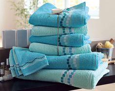 Lot de serviettes éponge liteau mosaïque - 400 g/m2