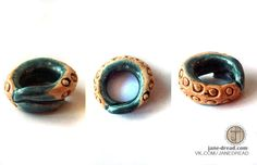 READY TO SHIP green tentacle ceramic dread bead by JaneDread