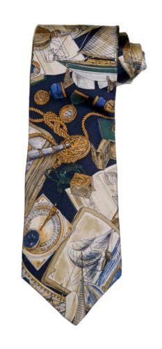 Hathaway Nautical Theme Silk Necktie Tie Made in the USA Navy Gold Beige Green