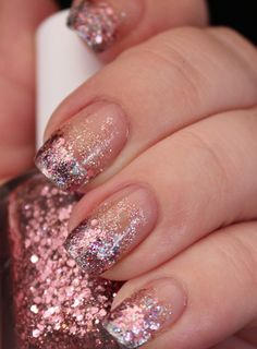 . Pink Glitter Gradient Nail Art with Essie Luxeffects A ...