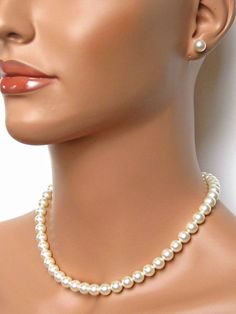 Already got my pearls - just seeing how I can do my hair! Classic Pearl Bridal Set Wedding Jewelry Set by AuroraJewelryBox, $44.00