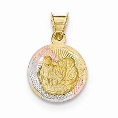 14k Tri Color Gold Baptism Circle Medal Pendant