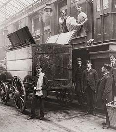 London postmen meet the Mail Train, probably Euston, 1898