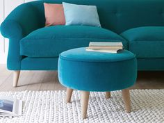 Footdoggle footstool in Pacific clever velvet Colorful Decor, Color Combos, Paint Colors, Ottoman, To Go, Living Room, Chair, Projects