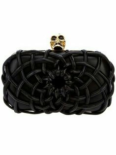 Black leather box clutch from Alexander McQueen featuring a contrasting gold frame, front leather spider web design, contrasting gold signature skull clasp with contrasting black crystal embellishment and detachable black leather buckled shoulder strap. Clutches For Women, Leather Box, Black Leather, Skull Fashion, Fashion Addict, World Of Fashion, Designing Women, Clutch Bag