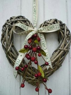 Christmas Heart grapevine wreath w/berries & ribbon. I love the Merry Christmas ribbon. Christmas Hearts, Noel Christmas, Country Christmas, Winter Christmas, All Things Christmas, Christmas Ornaments, Simple Christmas, Christmas Ribbon, Christmas Door Wreaths