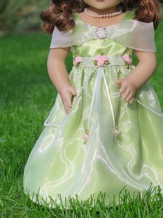 18 Inch Doll Green Satin Doll Princess Gown by RainbowLilyDesigns