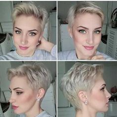 Short Blonde Pixie Cuts - Hairstyles For Women Pixie Haircut 2017, Short Haircuts 2017, Pictures Of Short Haircuts, Blonde Pixie Haircut, Short Blonde Pixie, Short Pixie Haircuts, Short Pixie Cuts, Long Pixie, Pelo Color Ceniza