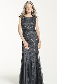 David's Bridal. Cap sleeve beaded gown with scoop back.��See More David's Bridal Mothers Dresses