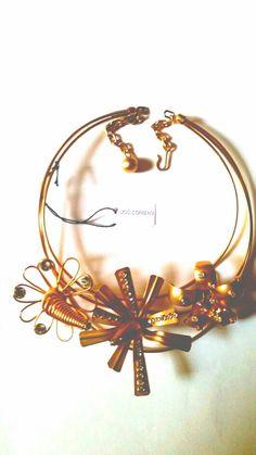 #Collier #Correani per #Versace #floreale #stilizzato #elementi in #ottone #dorato anni 80