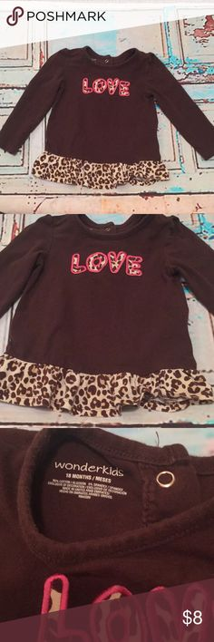 "Animal print ""Love"" baby Top 18mos Animal print ""Love"" baby Top 18mos. 95% cotton 5% Spandex. New condition Shirts & Tops Tees - Long Sleeve"