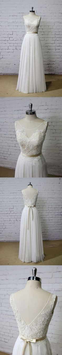 Long Aline Scoop V Back Lace Simple Pretty Beach Summer Tulle Wedding Dresses, WD0201