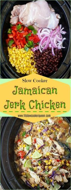 Slow Cooker Jamaican Jerk Chicken Spanish Onion, Jerk Chicken, One Pot Meals, Chicken Thighs, Black Beans, Slow Cooker, Stuffed Peppers, Cooking, Baking Center