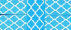 """Amazon.com: Custom & Fancy {.9"""" Inch Width - 3 YDS} 1 Pack of """"Grosgrain"""" Ribbon for Hairbows, Decorations & Gift Wrap Made of Polyester W/ Quatrefoil Moroccan Lattice Tile Design [Turquoise & White Color]"""