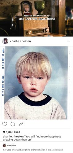 They used Charlie Heaton's baby picture, for his character, Jonathan Byers - Stranger Things