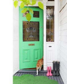Green door and stained glass. I just need a pug to replace the kitty or it's all a bit sneezy.