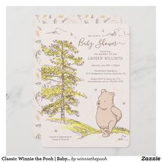 Classic Winnie the Pooh | Baby Shower Invitation Baby Shower Invitation Cards, Baby Shower Invitations For Boys, Baby Shower Printables, Baby Shower Themes, Baby Boy Shower, Birthday Invitations, Shower Ideas, Mommy To Bee, Gender Neutral Baby Shower