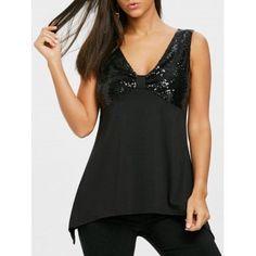 d29c2ad64f Sequin Panel Blouse  Blouses  Fashion  T-Shirts  Women  Black