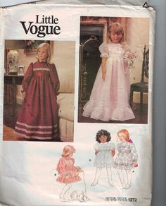 1980s Girls Vintage Sewing Pattern Vogue 1272 Girls Party Dress Flower Girl First Communion Size 6 Breast 25 1980s 80s