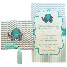 """Προσκλητήριο βάπτισης για αγόρι με θέμα """"γκρι ελεφαντάκι"""". Δίπτυχο προσκλητήριο σε γυαλιστερό χαρτί σε γκρι με βεραμάν χρώμα , που κλείνει και δένεται με βεραμάν κορδέλα. Oras"""