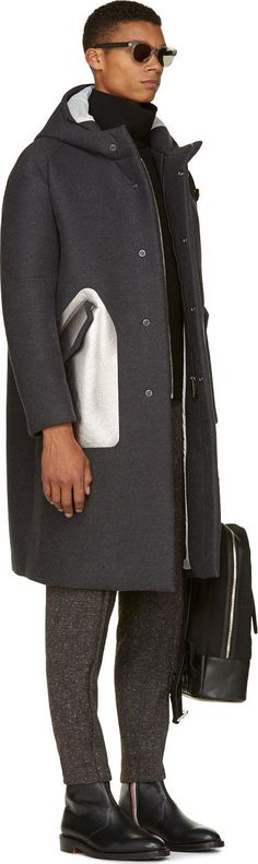 Miharayasuhiro Grey Hooded Metallic Silver Pocket Overcoat
