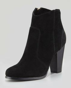Joie Dalton Suede Stacked-Heel Bootie, Black on shopstyle.com