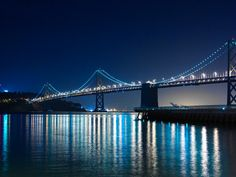 Bay Bridge at Night: Bay Bridge at San Francisco. I took this as my last shot of the night. Taken at the water's edge near the SF Ferry Building. Shot by Torrey Loomis Amazing Photos, Cool Photos, San Francisco At Night, Best Honeymoon, California Love, Golden Gate Bridge, Monuments, Installation Art, Bridges