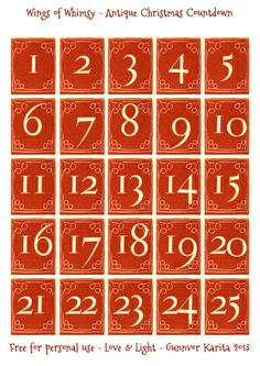 Wings of Whimsy: Antique Christmas Countdown Numbers Printable