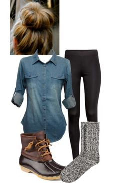 Sperry saltwater duck shoes, wool socks, leggings, and a denim shirt. Such a cute winter outfit! So cozy! Duck boots: http://www.sperrytopsider.com/en/saltwater-duck-boot/13750W.html?dwvar_13750W_color=STS91176 ; $100-$108 Wool socks: http://m.hm.com/gb/product/41719?article=41719-A $11 Leggings: http://m.hm.com/gb/product/45300?article=45300-E $12 Denim shirt: http://www.amazon.com/gp/aw/d/B00O3GVQ7S/ref=redir_mdp_mobile/176-6847931-7338014?refRID=0T4HW8NHA5XGW371VDH7&ref_=pd_sim_a_12 $19