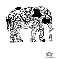Boho Elephant Elephant tattoo Henna style by WickedlyLovelyArt