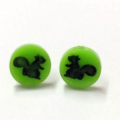 Squirrel Laser Cut Earrings - acrylic perspex plastic woodland retro green