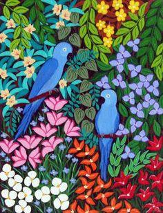 Ararinhas azuis Lucia de Lima (Brasil, conteporânea) acrílica sobre tela, 35 x 27 cm www.luciadelima.com