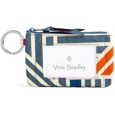 Vera Bradley Zip ID Case (38 BRL) ❤ liked on Polyvore featuring bags, wallets, geo medallions, zippered travel wallet, keyring wallet, vera bradley, travel wallet and travel bag