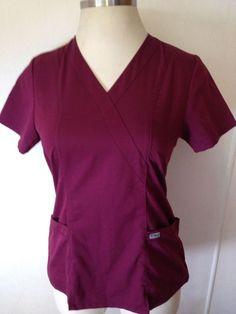 GREY'S ANATOMY by BARCO Scrub Shirt Top Burgundy V-Neck Short Sleeves Sz Medium #GreysAnatomy #Barco #Scrubs #ScrubShirt #ScrubTop