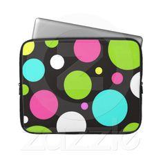 Colorful Fun Big Polka Dots on Black Computer Sleeves