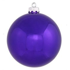 4.75 inch Purple Shiny Christmas Ball Ornament Featuring UV Resistant Finish Secure Cap with 6 inch of Green Floral Wire Shatterproof and Seamless Design.