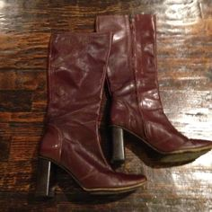 Genuine leather boots Gently used leather boots. Almost have a red tint to them.  Made in Italy. Banana Republic Shoes Heeled Boots