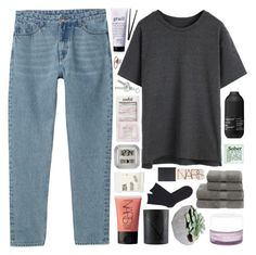 """collab with kaela!"" by symone-i ❤ liked on Polyvore featuring Monki, NARS Cosmetics, Living Proof, Korres, Christy, Kikkerland, Falke, Comodynes, philosophy and La Crosse Technology"