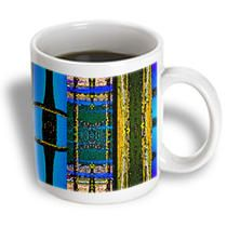3dRose - Jos Fauxtographee Abstract - Green, Blue, Gold with a Dash of Pink and Purple In Rectangles Layered from Landscape - Mugs