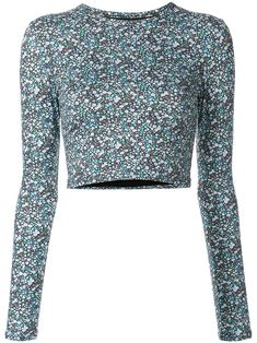 Blue floral print sun T-shirt from matteau featuring a round neck, long sleeves, a cropped length and a fitted silhouette. Stage Outfits, Kpop Outfits, Trendy Outfits, Cute Outfits, Fashion Outfits, Fashion Trends, Mood Designer Fabrics, Embellished Crop Top, Sequin Shirt