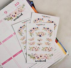 Floral Planner Stickers + Weekend Sticker for Erin Condren