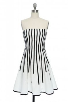 Gorgeous white and black striped party dress.