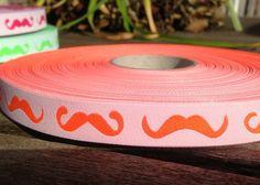 """WEBBAND """"Moustache"""" neonorange/weiß von schuys auf DaWanda.com"""