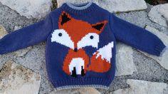 Pull enfant motif renard de 2 ans à 6 ans 100% fait main : Mode garçons par souricette-creation Knitting Blogs, Knitting For Kids, Baby Knitting, Knitting Patterns, Pull Bebe, Pulls, Kids And Parenting, Pixel Art, Christmas Sweaters