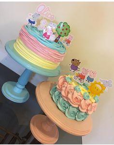 luli 3 Tortas Peppa Pig, Bolo Da Peppa Pig, Cumple Peppa Pig, Peppa Pig Birthday Decorations, Peppa Pig Birthday Cake, Unicorn Birthday, Bolo George Pig, Pig Party, 3rd Birthday Parties